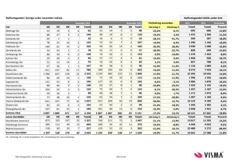 Vismas månadsrapport för nyföretagandet (november 2012)