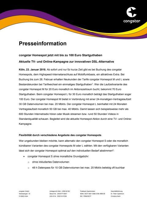 congstar Homespot jetzt mit bis zu 100 Euro Startguthaben - Aktuelle TV- und Online-Kampagne zur innovativen DSL-Alternative