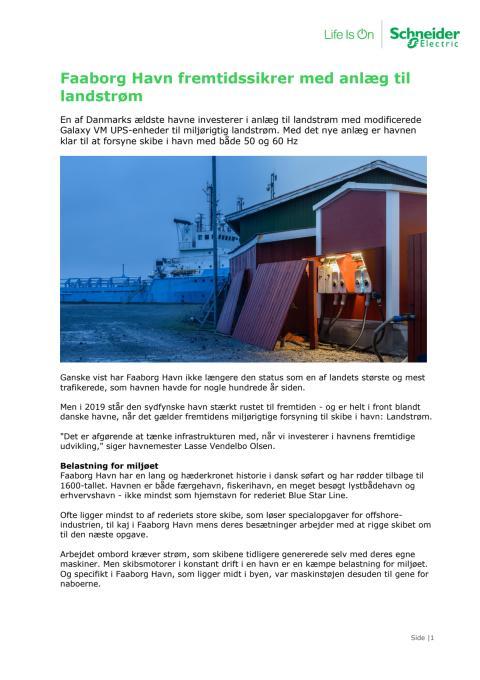 Faaborg Havn fremtidssikrer med anlæg til landstrøm
