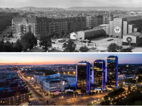 Two snapshots in time. Korsvägen in Gothenburg on 4 August 1932 and on 19 May 2017.