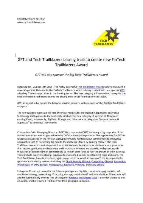 GFT and Tech Trailblazers blazing trails to create new FinTech Trailblazers Award