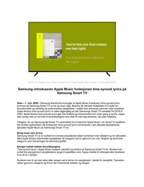 Samsung introduserer Apple Music funksjonen time-synced lyrics på Samsung Smart TV