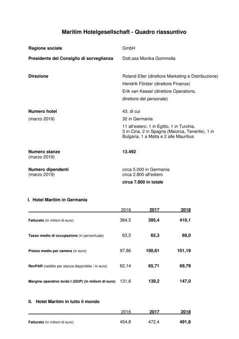 Maritim Hotelgesellschaft - Quadro riassuntivo 2019