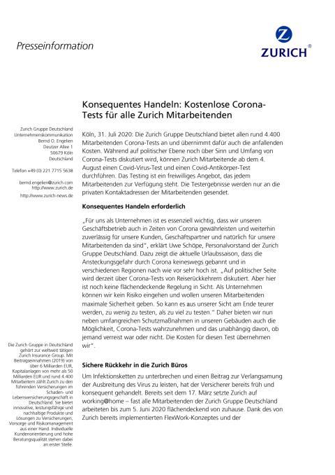 Konsequentes Handeln: Kostenlose Corona-Tests für Zurich Mitarbeitende