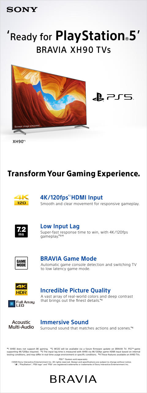 'Ready for PS5' XH90 4K HDR Full Array LED TV infographic