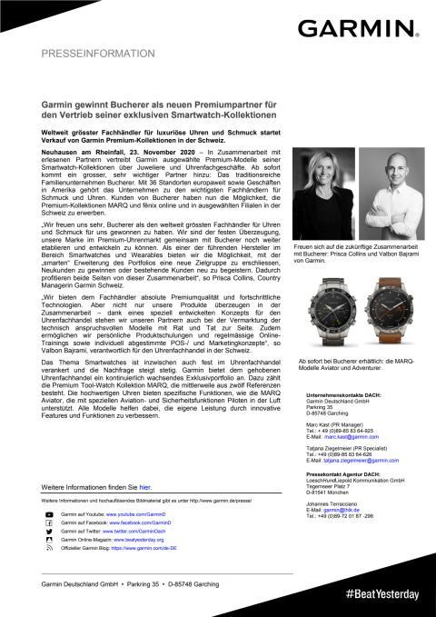PM Garmin verkündet Zusammenarbeit mit Juwelier Bucherer