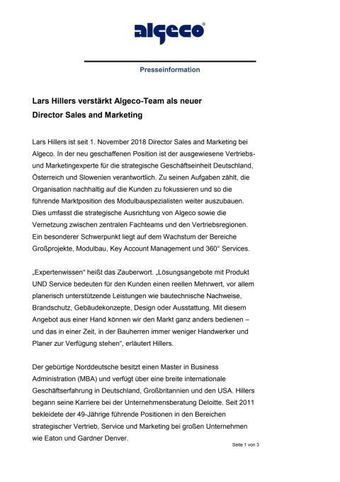 Lars Hillers verstärkt Algeco-Team als neuer  Director Sales and Marketing