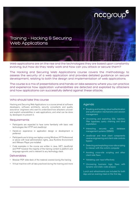 Training: Hacking & Securing Web Applications