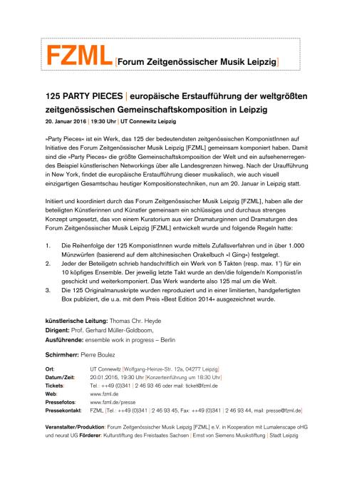 125 Party Pieces Pressemitteilung