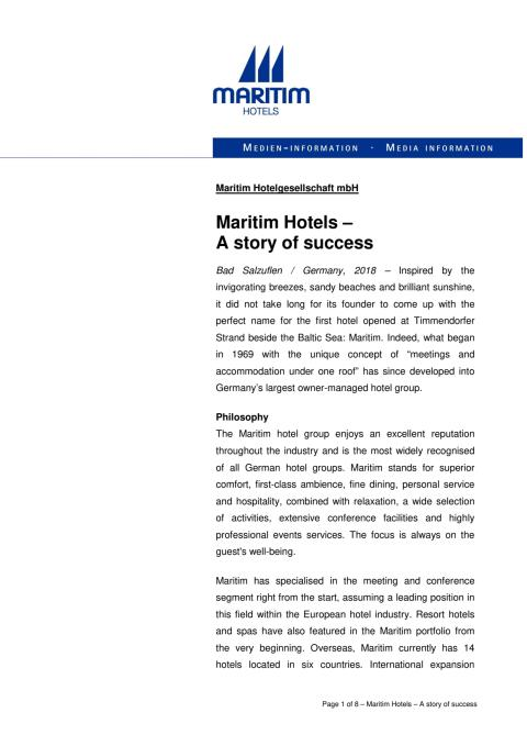 Maritim Hotels – A story of success