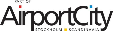 """Airport City Stockholms """"Part of Airport City Stockholm"""" logotyp"""