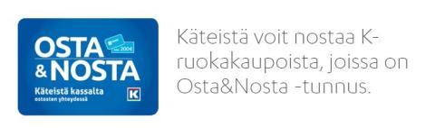 Käteistä Säästöpankin korteilla K-ruokakauppojen kassalta ja Neste K-asemilta