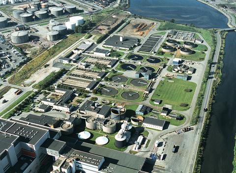 Flygfoto över Sjölunda avloppsreningsverk