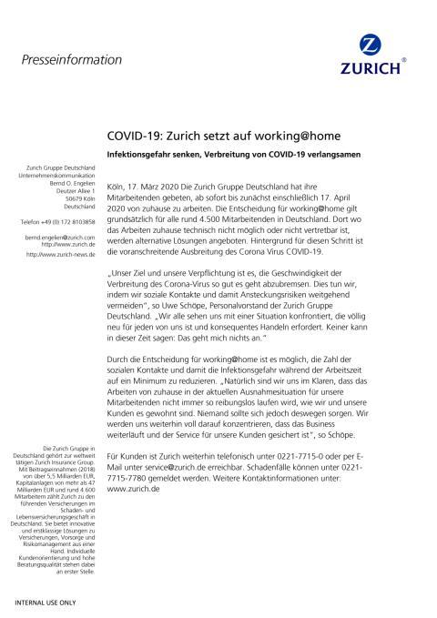COVID-19: Zurich setzt auf working@home