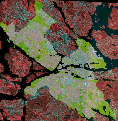 Stockholms bebyggelse och grönområden.