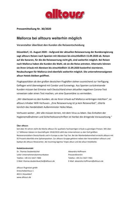 Mallorca bei alltours weiterhin möglich - Veranstalter überlässt den Kunden die Reiseentscheidung