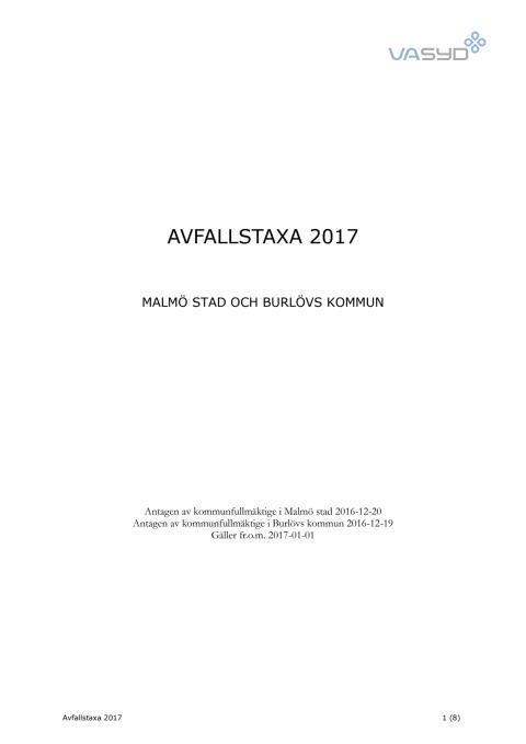 Avfallstaxa 2017