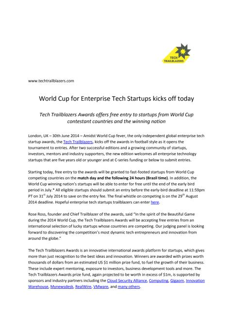 World Cup for Enterprise Tech Startups kicks off today:  Tech Trailblazers Awards offers free entry to startups from World Cup contestant countries and the winning nation