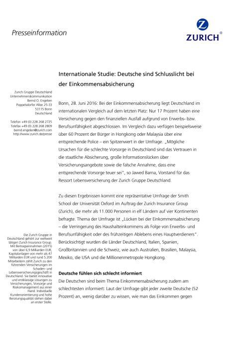 Internationale Studie: Deutsche sind Schlusslicht bei der Einkommensabsicherung