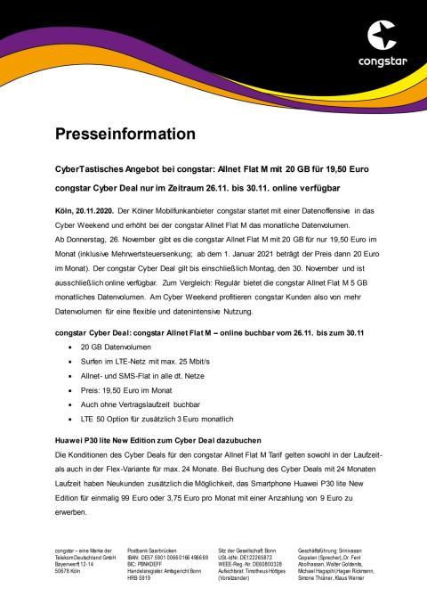 CyberTastisches Angebot bei congstar: Allnet Flat M mit 20 GB für 19,50 Euro