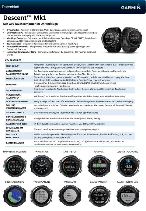 Datenblatt Garmin Descent Mk1