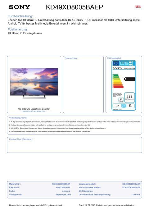 Datenblatt BRAVIA KD-49XD8005BAEP von Sony