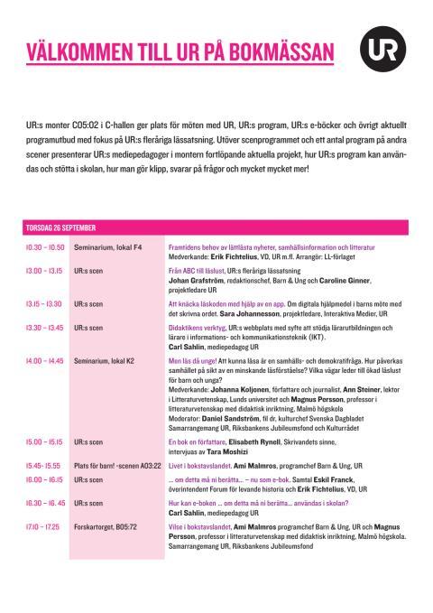 Program – UR på Bokmässan 2013