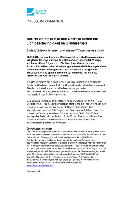 Alle Haushalte in Eyll und Obereyll surfen mit Lichtgeschwindigkeit im Glasfasernetz