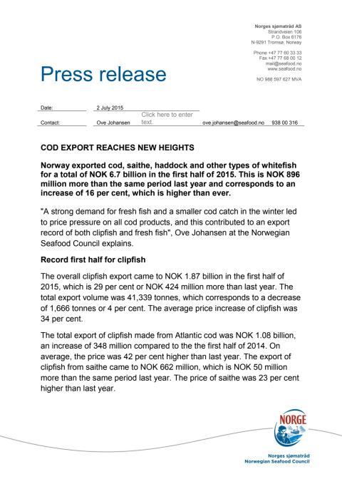 Cod export reaches new heights
