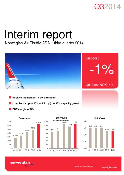 Norwegian Air Shuttle ASA - Third quarter 2014 interim report