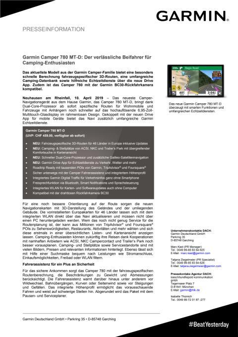 Garmin Camper 780 MT-D: Der verlässliche Beifahrer für Camping-Enthusiasten