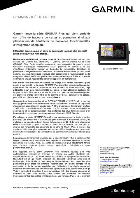 Garmin lance la série GPSMAP Plus qui vient enrichir son offre de traceurs de cartes et permettre ainsi aux plaisanciers de bénéficier de nouvelles fonctionnalités d'intégration complète.