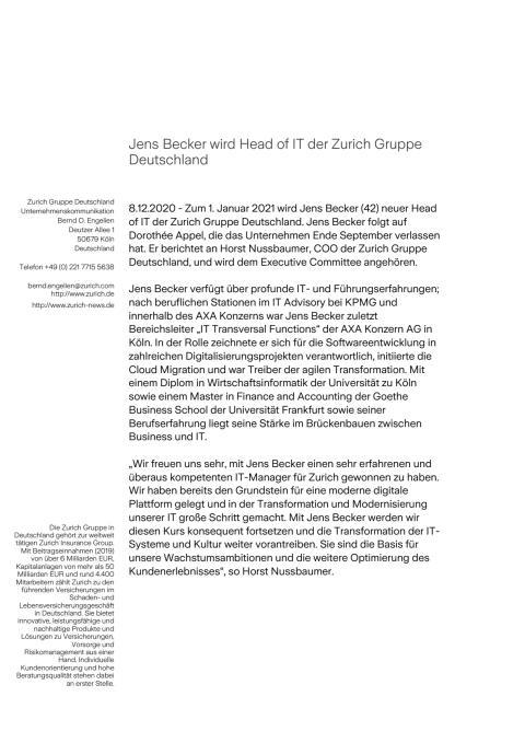 Jens Becker wird Head of IT der Zurich Gruppe Deutschland
