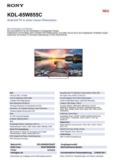 KDL-65W855C von Sony