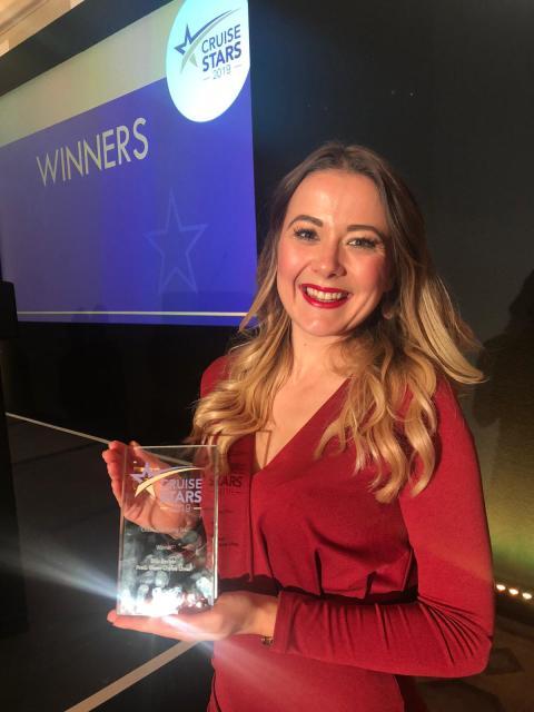 Fred. Olsen's Ellis Barker crowned 'Cruise Line Rising Star' in national 'Cruise Stars 2019' Awards