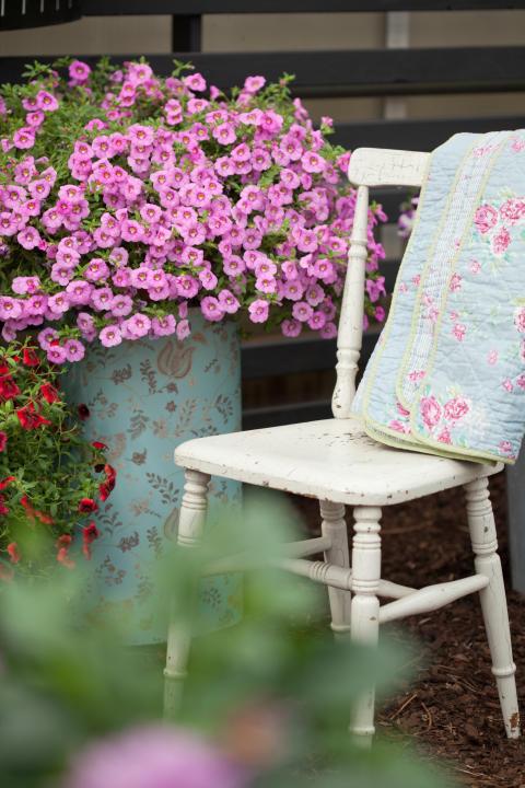Småpetunia 'Hot Pink' ger härlig blomning.