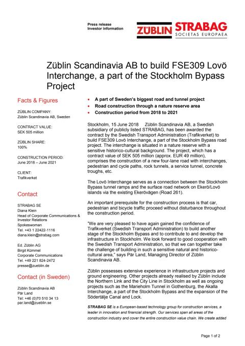 Züblin Scandinavia AB to build FSE309 Lovö Interchange, a part of the Stockholm Bypass Project