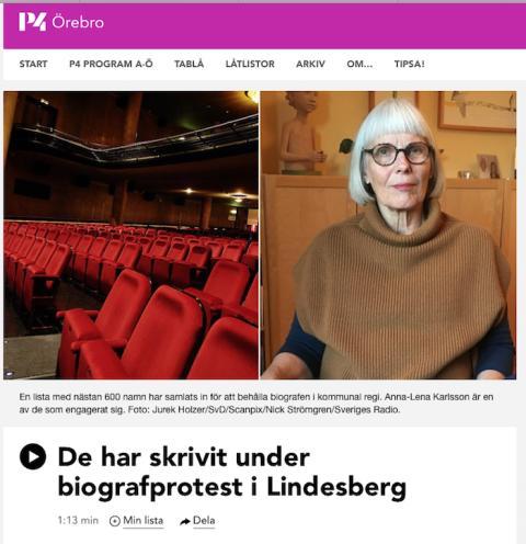 Sveriges Radio uppmärksammar biograffrågan i Lindesberg