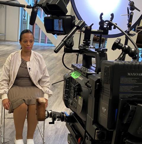Mrs Samuels - Daniel's mother being filmed during Crimewatch