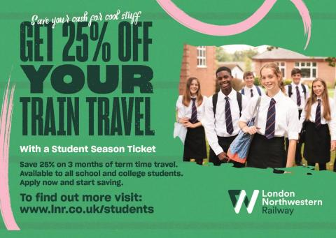 25% discount on train travel for students