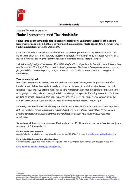 Findus i samarbete med Tina Nordström - Passion för mat är grunden