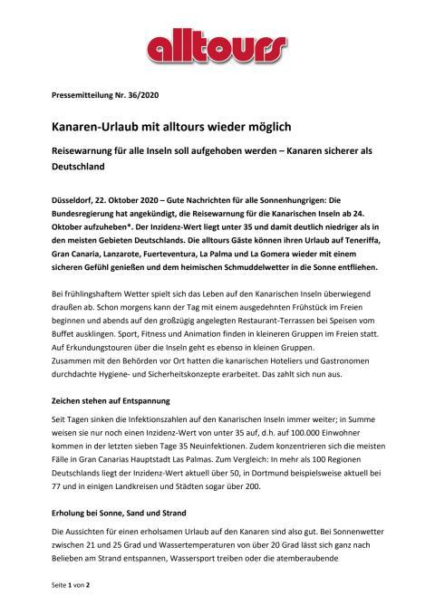 Kanaren-Urlaub mit alltours wieder möglich - Reisewarnung für alle Inseln soll aufgehoben werden – Kanaren sicherer als Deutschland