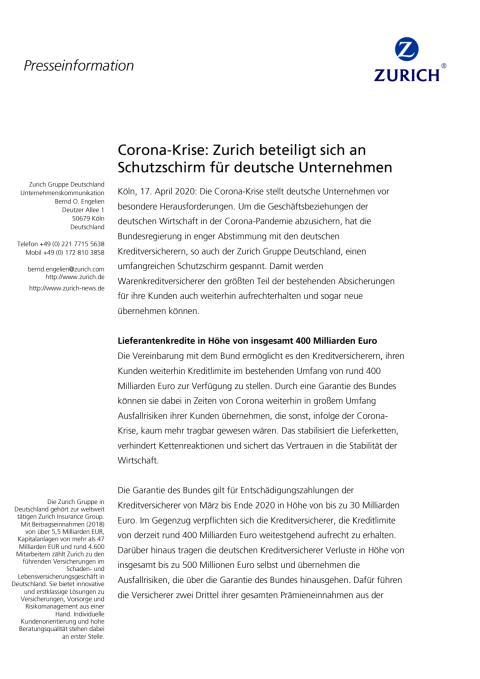 Corona-Krise: Zurich beteiligt sich an Schutzschirm für deutsche Unternehmen
