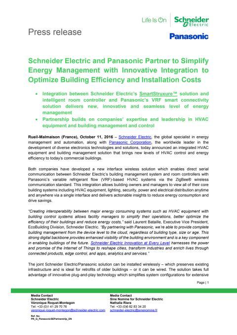 Schneider Electric og Panasonic går sammen om sømløs energistyring