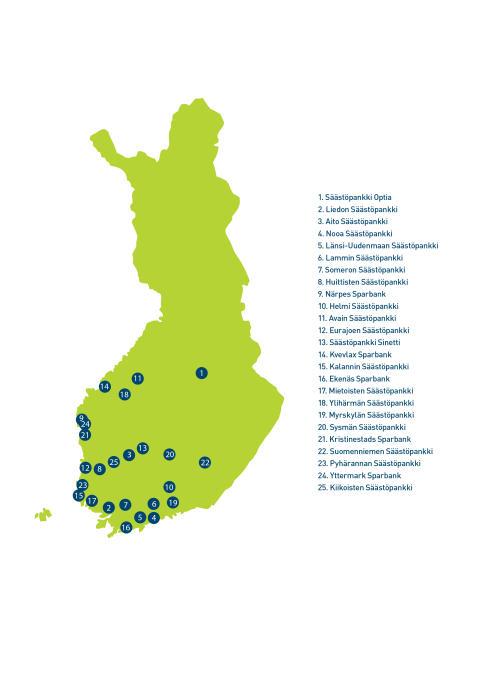 Uudistuvan Säästöpankkiryhmän pankit kartalla