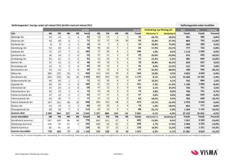 Vismas månadsrapport för nyföretagandet (juli 2013)