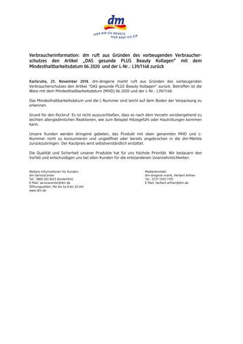 """Verbraucherinformation: dm ruft aus Gründen des vorbeugenden Verbraucherschutzes den Artikel """"DAS gesunde PLUS Beauty Kollagen"""" mit dem Mindesthaltbarkeitsdatum 06.2020 und der L-Nr.: L39/1148 zurück"""
