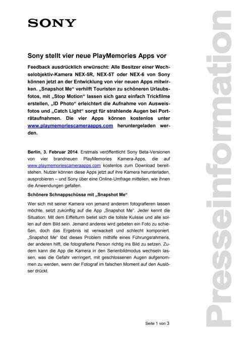 Sony stellt vier neue PlayMemories Apps vor