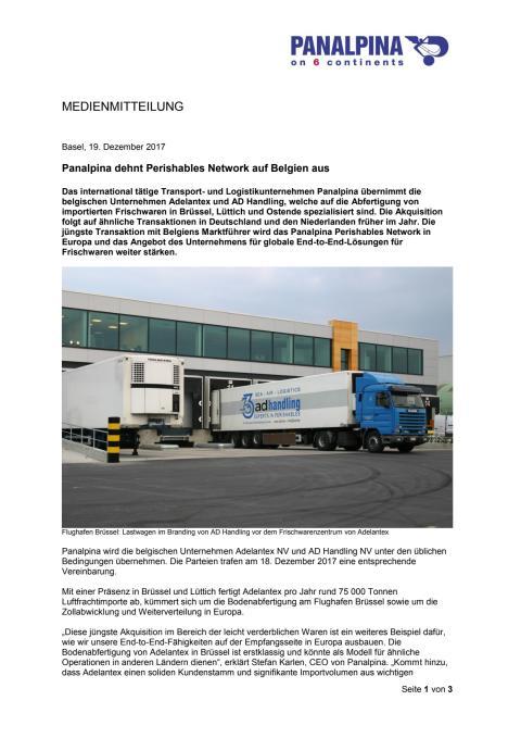 Panalpina dehnt Perishables Network auf Belgien aus