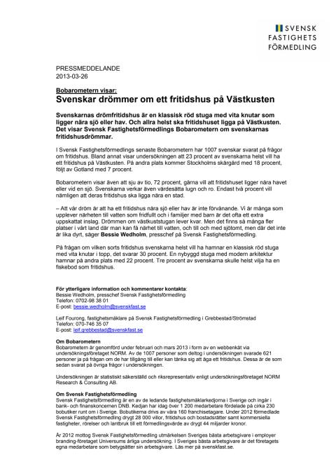Bobarometern visar: Svenskar drömmer om ett fritidshus på Västkusten